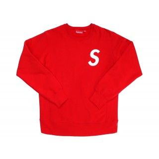 FW18 Supreme S Logo Crewneck Red