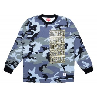 FW18 Supreme Stacked L/S Top Blue Camo