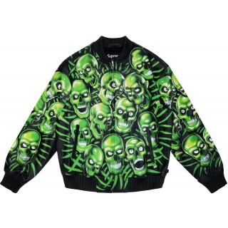 FW18 Supreme Skull Pile Leather Bomber Jacket Green