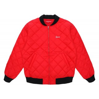 FW18 Supreme Sequin Patch Quilted Bomber Jacket Red