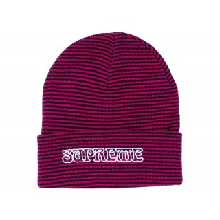 FW18 Supreme Small Stripe Beanie Pink