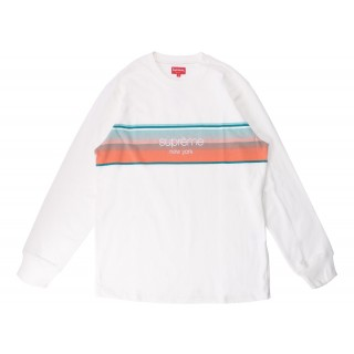 FW18 Supreme Shadow Stripe LS Top White