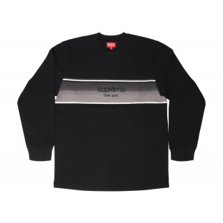 FW18 Supreme Shadow Stripe LS Top Black