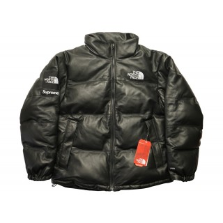 FW18 Supreme The North Face Leather Nuptse Jacket Black