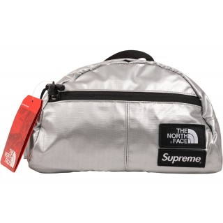 FW18 Supreme The North Face Metallic Roo II Lumbar Pack Silver