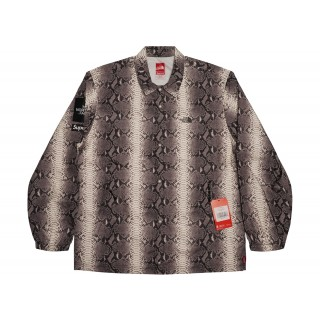 FW18 Supreme The North Face Snakeskin Taped Seam Coaches Jacket Black
