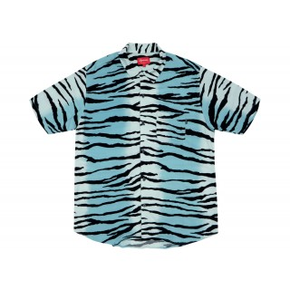 FW18 Supreme Tiger Stripe Rayon Shirt Teal