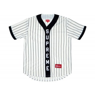 FW18 Supreme Vertical Logo Baseball Jersey White/Black