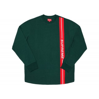 FW18 Supreme Vertical Logo Stripe L/S Top Dark Green