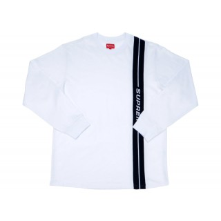 FW18 Supreme Vertical Logo Stripe L/S Top White