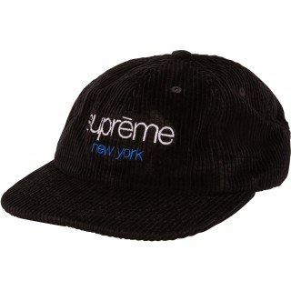 FW18 Supreme Waffle Cord Classic Logo 6-Panel Black