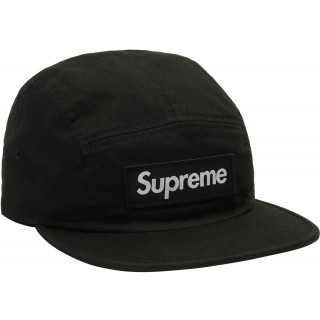 FW18 Supreme Washed Chino Twill Camp Cap (FW18) Black