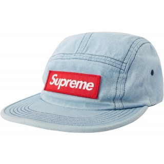 FW18 Supreme Washed Chino Twill Camp Cap (FW18) Denim