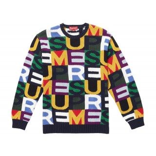 FW18 Supreme Big Letters Sweater Multicolor