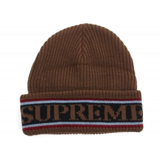 FW18 Supreme Cuff Logo Beanie Brown