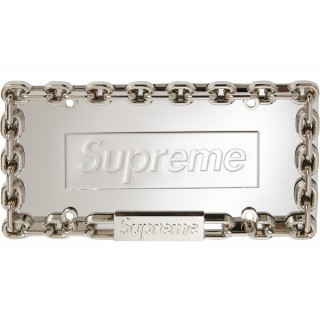 FW18 Supreme Chain License Plate Frame Silver