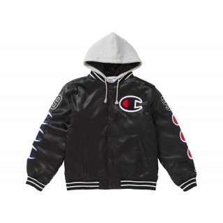 FW18 Supreme Champion Hooded Satin Varsity Jacket Black