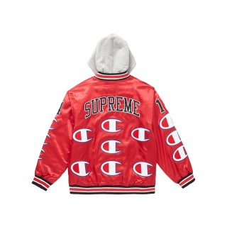 FW18 Supreme Champion Hooded Satin Varsity Jacket Red