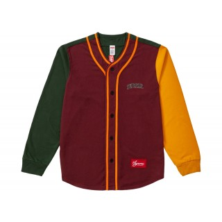 FW18 Supreme Color Blocked Baseball Top Burgundy