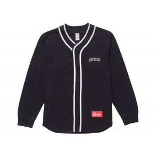 FW18 Supreme Color Blocked Baseball Top Black
