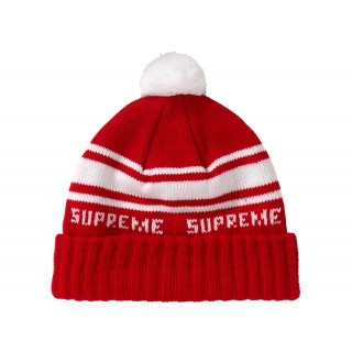 FW18 Supreme Classic Stripe Beanie Red