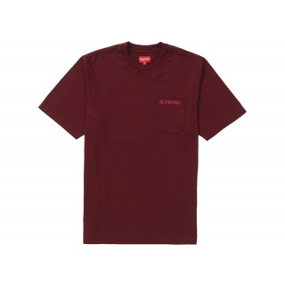 FW18 Supreme Embroidered Pocket Tee Burgundy