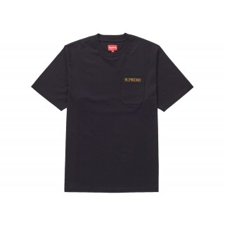 FW18 Supreme Embroidered Pocket Tee Black
