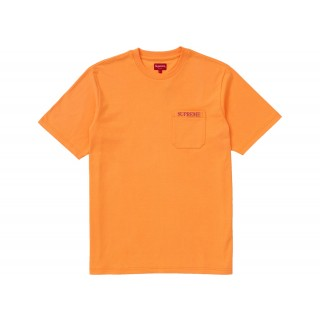 FW18 Supreme Embroidered Pocket Tee Fluorescent Orange