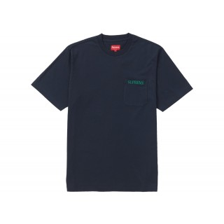 FW18 Supreme Embroidered Pocket Tee Navy