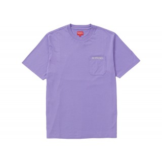 FW18 Supreme Embroidered Pocket Tee Pale Purple