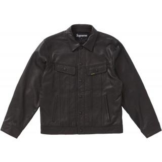 FW18 Supreme Leather Trucker Jacket Black