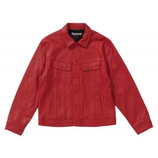 FW18 Supreme Leather Trucker Jacket Red