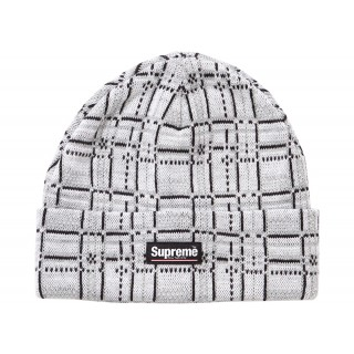 FW18 Supreme Plaid Beanie White