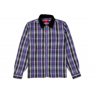 FW18 Supreme Plaid Thermal Zip Up Shirt Purple
