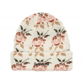FW18 Supreme Rose Jacquard Beanie Natural