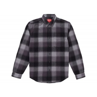 FW18 Supreme Shadow Plaid Flannel Shirt Black