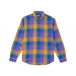 FW18 Supreme Shadow Plaid Flannel Shirt Dusty Royal