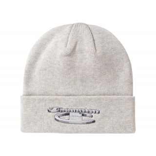 FW18 Supreme Champion 3D Metallic Beanie Ash Grey