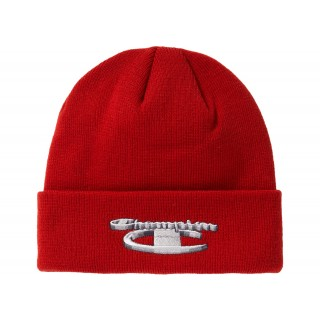 FW18 Supreme Champion 3D Metallic Beanie Brick Red