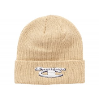 FW18 Supreme Champion 3D Metallic Beanie Tan