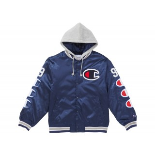 FW18 Supreme Champion Hooded Satin Varsity Jacket Navy