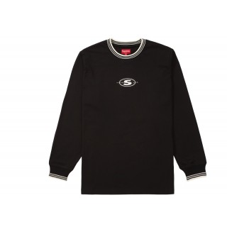 FW18 Supreme Striped Rib Logo L/S Top Black