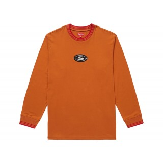 FW18 Supreme Striped Rib Logo L/S Top Burnt Orange
