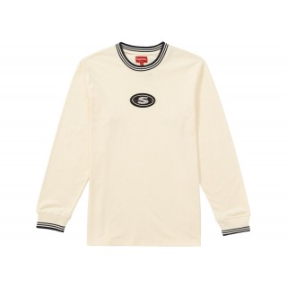 FW18 Supreme Striped Rib Logo L/S Top Natural