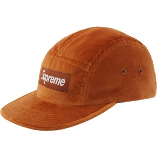 FW18 Supreme Velvet Camp Cap Brown