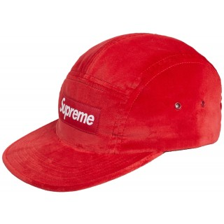 FW18 Supreme Velvet Camp Cap Red
