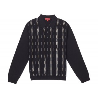 FW18 Supreme Vertical Stripe Knit L/S Polo Black