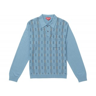 FW18 Supreme Vertical Stripe Knit L/S Polo Light Blue