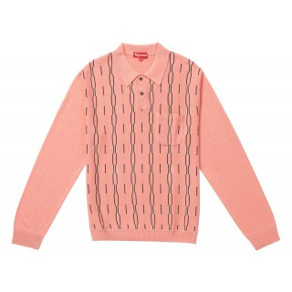FW18 Supreme Vertical Stripe Knit L/S Polo Light Pink